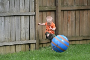 A future NFL punt kicker in the making?