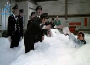 fark-foam-buses-080611 (The cast of Mutiny on the Buses getting up to some foamy hijinks with foam guy)